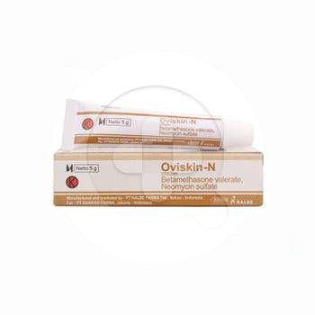 Oviskin-N krim digunakan untuk mengobati dermatosis yang responsif terhadap kortikosteroid yang disertai infeksi sekunder disebabkan oleh mikroorganisme yang peka terhadap neomycin