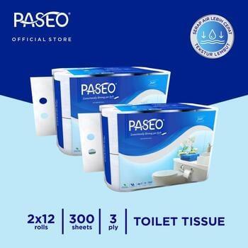 Paseo Elegant Tissue Toilet Roll Core Non Emboss 300 Sheets - 12 Rolls x 2 Packs harga terbaik 187000