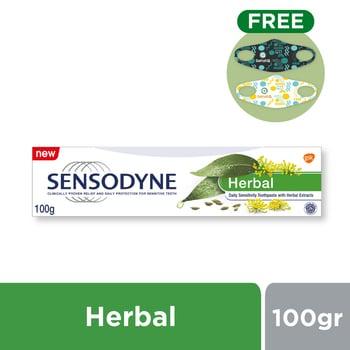 Buy Sensodyne Herbal Pasta Gigi Sensitif Ekstrak Herbal Alami FREE SehatQ Mask