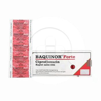 Banquinor Forte mengandung Ciprofloxacin yang merupakan antibiotik golongan fluorokulnolon, bekerja dengan cara mempengaruhi enzim DNA gyrase bakteri.