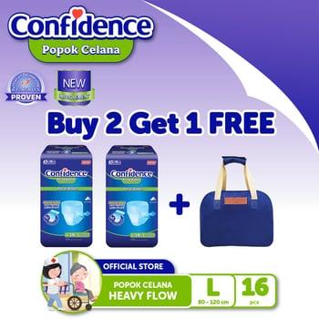 Confidence Popok Celana Heavy Flow L 16 BUY 2 FREE Multipurpose Bag BLUE harga terbaik
