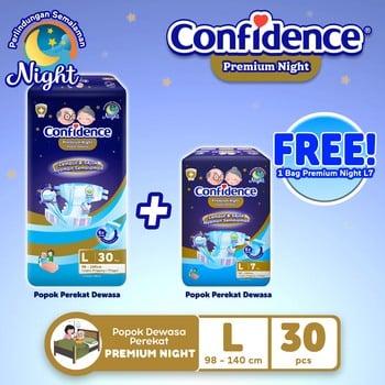 Confidence Popok Dewasa Premium Night L 30 FREE Premium Night L 7 harga terbaik
