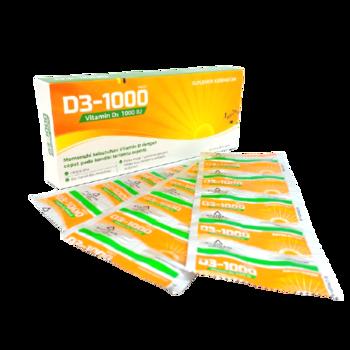 D3-1000 tablet adalah suplemen untuk membantu memenuhi kebutuhan vitamin D dengan cepat