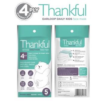 Thankful Face Mask Kid Earloop Daily 4Ply  harga terbaik 10000