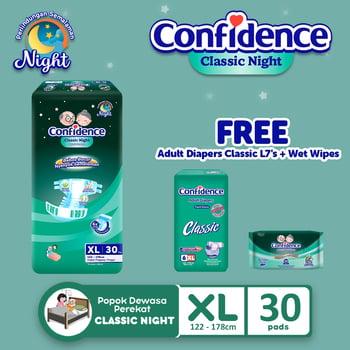 Confidence Popok Dewasa Classic Night XL 30 FREE Classic XL 6 + Wet Wipes harga terbaik