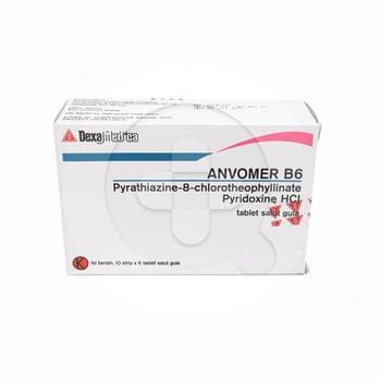 Anvomer B6 Tablet mencegah mual dan muntah saat hamil, setelah operasi dan mabuk perjalanan.