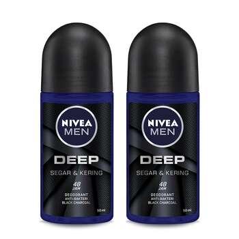 NIVEA MEN Deodorant Deep Roll On 50 ml - Twin Pack harga terbaik