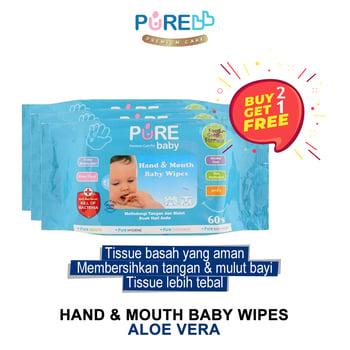 Pure Baby Hand & Mouth Baby Wipes Aloe Vera 60'S  harga terbaik 59590