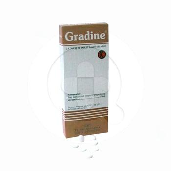 Gradine tablet digunakan untuk mengurangi gejala rinitis alergi seperti bersin, pilek, gatal dan rasa terbakar pada mata.