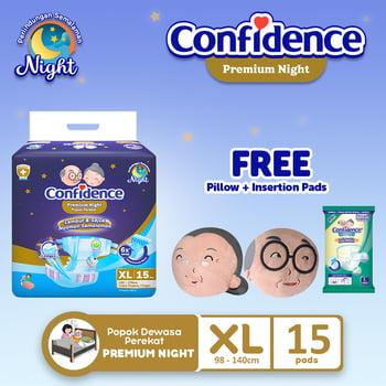 Confidence Popok Dewasa Premium Night XL 15 FREE Pillow + Insert Pad harga terbaik