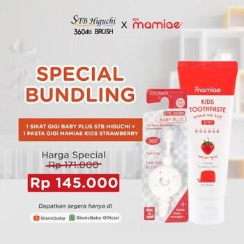 Special Bundling - STB Higuchi 360do Brush Baby Plus Sikat Gigi x Mamiae Kids Pasta Gigi - White Strawberry harga terbaik 171000