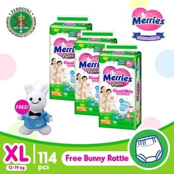 Merries Pants Good Skin XL 38S - Triple Pack FREE Bunny Rattle harga terbaik 312700
