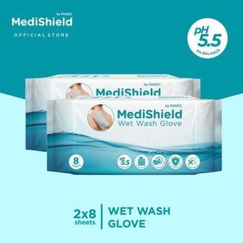 Medishield by Paseo Wet Wash Glove 8 Sheets x 2 Packs harga terbaik 51000