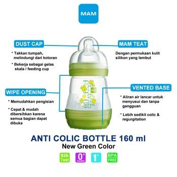 MAM Anti Colic Bottle 160 ml - Green harga terbaik 92308