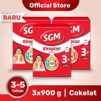 Paket 3 - SGM Eksplor 3 Plus Susu Pertumbuhan 3-5 Tahun Coklat 900 g harga terbaik