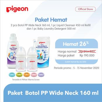 Pigeon Paket Botol PP Wide Neck 160 ml - Pink harga terbaik