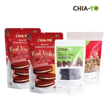 Chia-Yo Bundling 2 Pack Cookies Red Velvet + 2 Pack Granola Bites Dark Chocolate harga terbaik