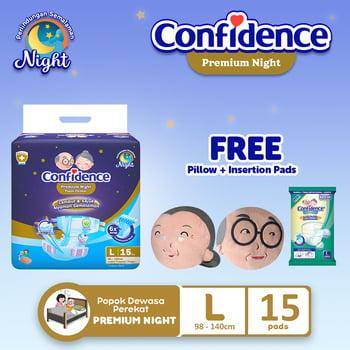 Confidence Popok Dewasa Premium Night L 15 FREE Pillow + Insert Pads harga terbaik