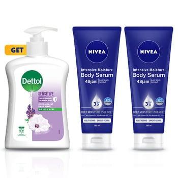 NIVEA Body Intensive Serum 180 ml GET Dettol Sensitive Hand Wash - Twin Pack harga terbaik