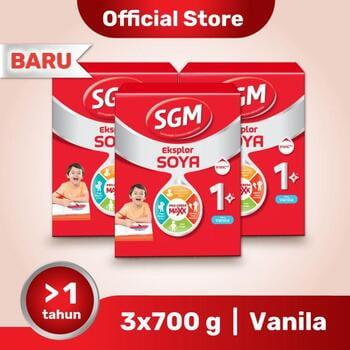 Paket 3 - SGM Eksplor SOYA Susu Pertumbuhan 1-5 Tahun Vanila 700 g harga terbaik