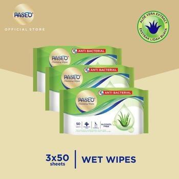 Paseo Tissue Basah Anti Bacterial 50 Sheets x 3 Packs harga terbaik 29000