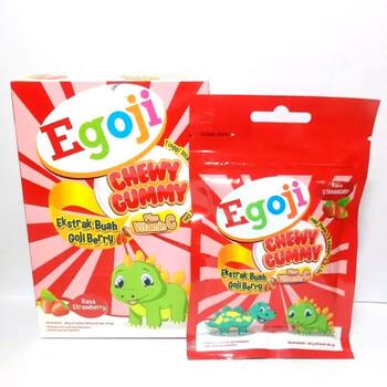 Egoji Chewy Gummy Plus Vitamin C Rasa Strawberry digunakan untuk memelihara daya tahan tubuh anak serta dapat juga merawat sel-sel serta jaringan tubuh.