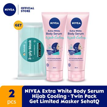 NIVEA Extra White Body Serum Hijab Cooling 180 ml - Twin Pack GET Limited Masker SehatQ harga terbaik