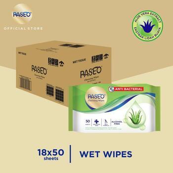 Paseo Tissue Basah Anti Bacterial 50 Sheets x 18 Pcs  harga terbaik 167750