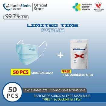 BasicMeds Surgical Mask Earloop Blue  harga terbaik 100000