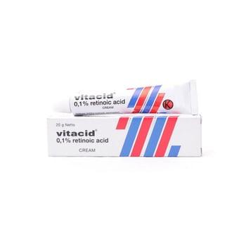 Vitacid krim 0,1 % untuk pengobatan jerawat secara topikal terutama tingkat I-III dimana banyak komedo, papul dan pustul.