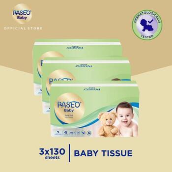 Paseo Baby Tissue Bayi Soft Pack 130 Sheets x 3 Pack harga terbaik 44500