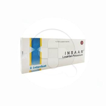 Insaar Tablet digunakan untuk tekanan darah tinggi sebagai terapi tunggal atau kombinasi.