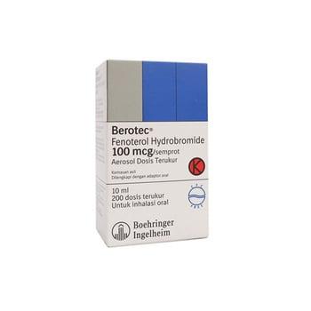 Berotec inhaler 200 dosis untuk pengobatan serangan asma akut, pencegahan asma akibat olahraga, terapi simtomatik asma bronkial dan bronkitis obstruktif kronik.