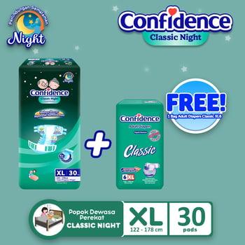 Confidence Popok Dewasa Classic Night XL 30 FREE Classic X L6 harga terbaik