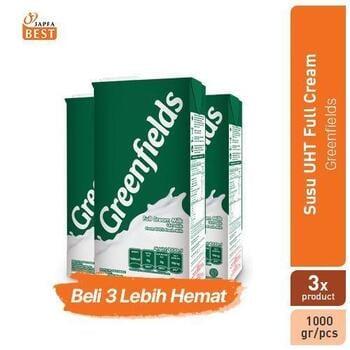 Greenfields Susu UHT Full Cream 1 Liter - Paket Isi 3 harga terbaik 66000