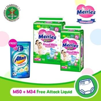 Merries Pants Good Skin M 50S + M34S - FREE Attack Liquid 800 ml harga terbaik 217500
