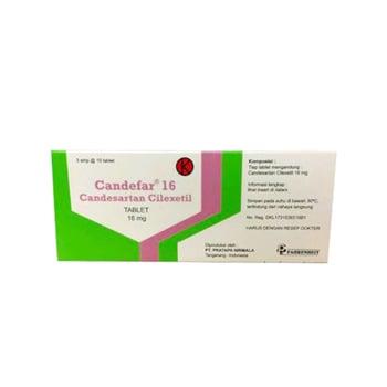 Candefar Tablet adalah obat yang mengandung candesartan cilexetil 16 mg.