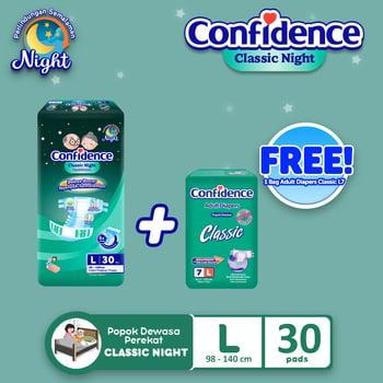 Confidence Popok Dewasa Classic Night L 30 FREE Classic L 7 harga terbaik