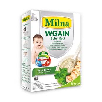Milna Bubur Bayi Wgain Ayam Bayam 6+ adalah MPASI 6 bulan  dengan New Improved Formula yakni kombinasi whey berkualitas, protein ayam juga coconut oil yang bantu anak menaikan berat badan.