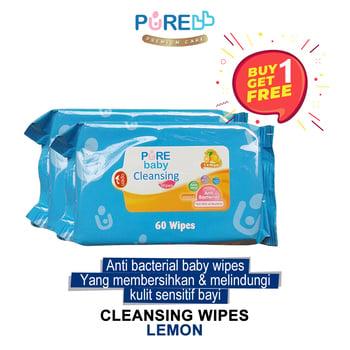 Pure Baby Cleansing Wipes Lemon 60's - Beli 1 Gratis 1 harga terbaik 22667