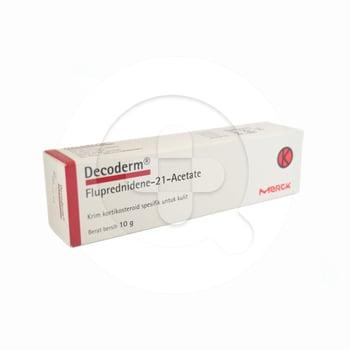 Decoderm krim 10 g obat untuk pengobatan jenis penyakit kulit atau eksim baik yang baru maupun yang lama, kulit terbakar karena sinar matahari, gigitan serangga.