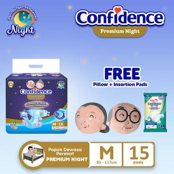 Confidence Popok Dewasa Premium Night M 15 FREE Pillow + Insert Pad harga terbaik