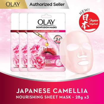 Olay Japanese Camellia Nourishing Sheet Mask 28 g - Paket Isi 3 harga terbaik