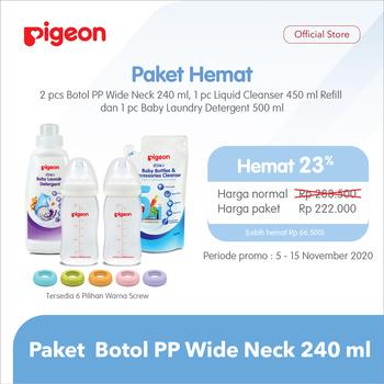 Pigeon Paket Botol PP Wide Neck 240 ml - Blue harga terbaik