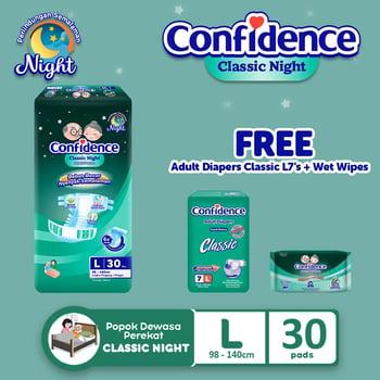 Confidence Popok Dewasa Classic Night L 30 FREE Classic L7 + Wet Wipes harga terbaik