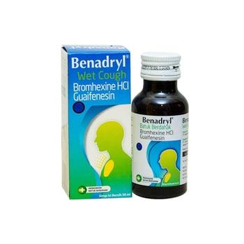 Benadryl sirup 50 ml untuk meredakan batuk berdahak dan mempermudah pengeluaran dahak