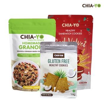 Chia-Yo Bundling Granola Original 100 g + Gluten Free Cookies + Cookies Sandwich Red Velvet harga terbaik