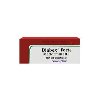 Diabex Forte Tablet adalah obat yang mengandung  metformin hci 850 mg.