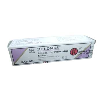 Dolones krim digunakan sebagai anastetik topikal pada kulit yang membutuhkan efek anestesi lokal.