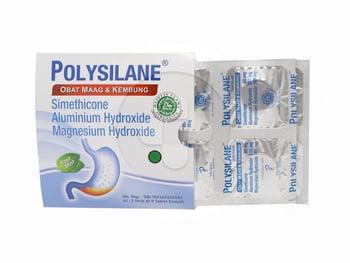 Polysilane tablet adalah obat untuk mengurangi gejala terkait dengan kelebihan asam lambung